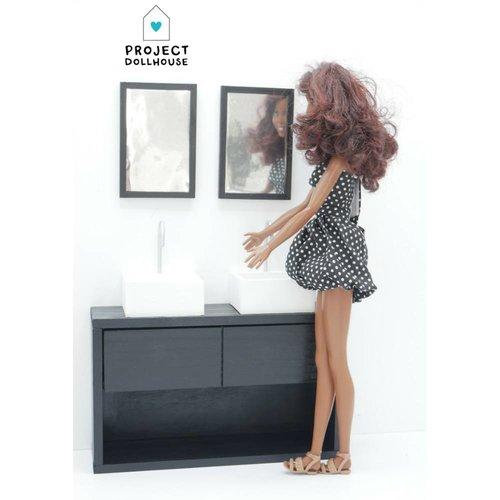 Project Dollhouse Barbie Badkamer Zwart