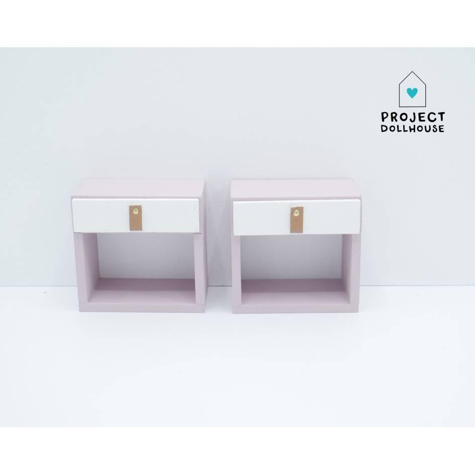 Project Dollhouse Nachtkastje Barbie Oud Roze