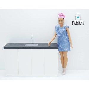 Project Dollhouse Barbie Keuken Zwart Aanrecht