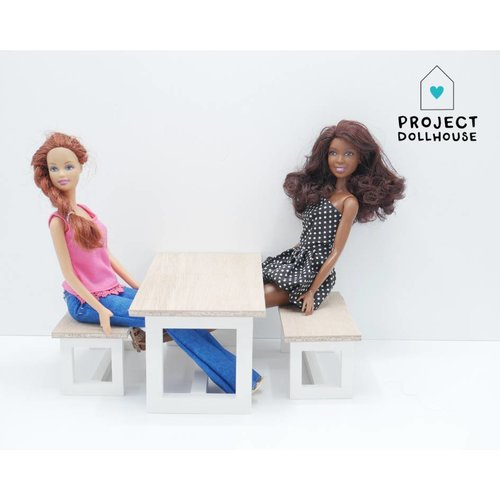 Project Dollhouse Barbie Eettafel met Bankjes Wit