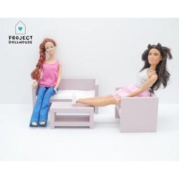 Project Dollhouse Barbie Zitkamer Oud Roze