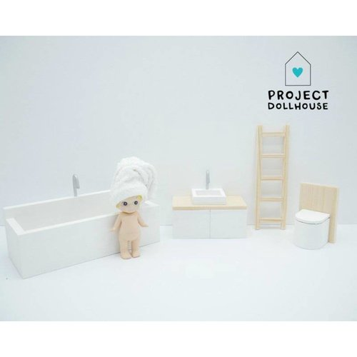 Project Dollhouse Poppenhuis Badkamer Hout & Wit