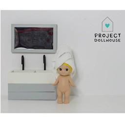 Project Dollhouse Poppenhuis Badkamer Spiegel Grijs