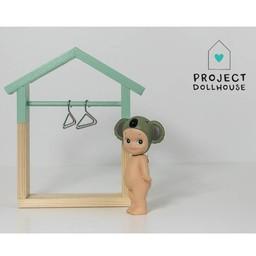 Project Dollhouse Poppenhuis Kledingrek Huisje Mint Groen