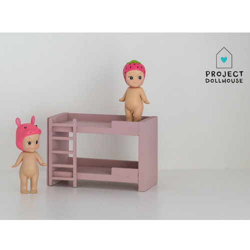Project Dollhouse Poppenhuis Stapelbed Oud Roze