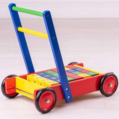 Tidlo Houten Baby Loopwagen met ABC blokken