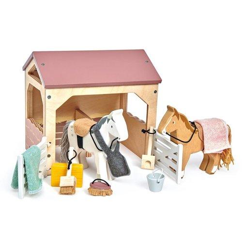 Tender Leaf Toys Poppenhuis Huisdierenset Stal met Pony's