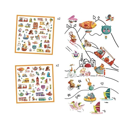 Djeco Stickers Onderweg - 160 st