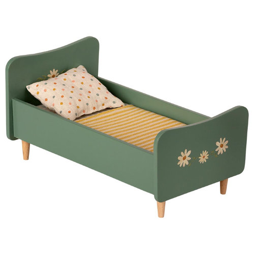 Maileg Houten Bed Mini - Mint Blauw