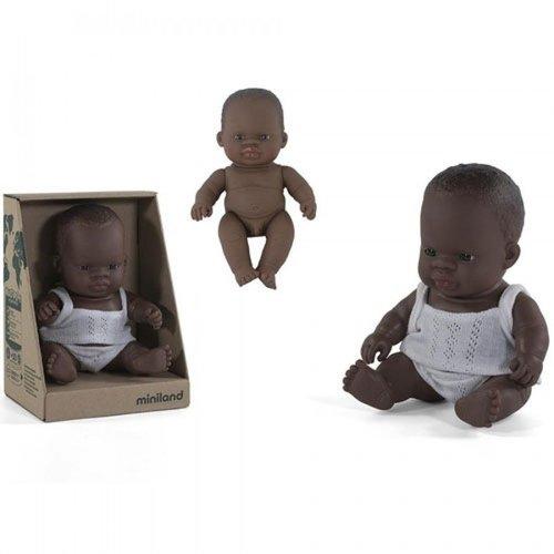 Miniland Babypop Jongen Donker - 21 cm