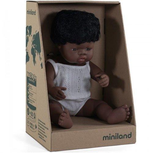 Miniland Babypop Jongen Donker - 38 cm