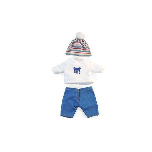 Miniland Poppen Kledingset Wit/Blauw  Jongen - 21 cm