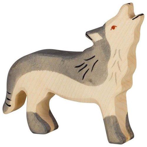 Holztiger Huilende Wolf 11 cm