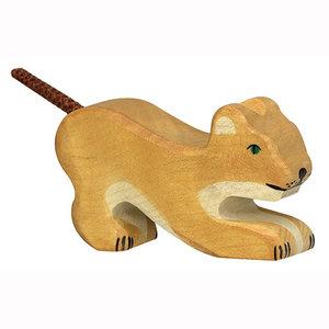 Holztiger Leeuw Klein Spelend  5 cm