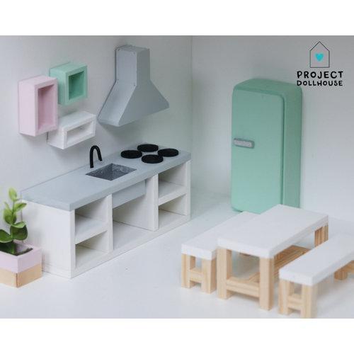 Project Dollhouse Eettafel Wit met Bankjes