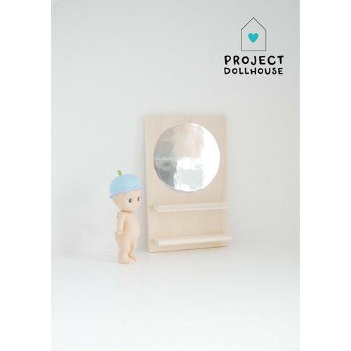 Project Dollhouse Houten Spiegelwand Rond
