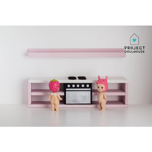 Project Dollhouse Pastelroze keuken met oven 25 cm