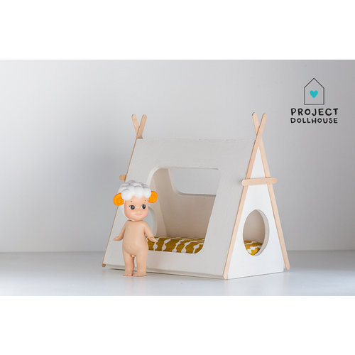 Project Dollhouse Tipi bed houten details