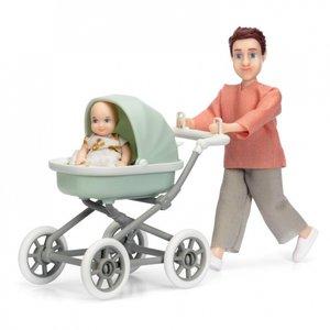 Lundby Poppenhuis Man met Kinderwagen en Baby