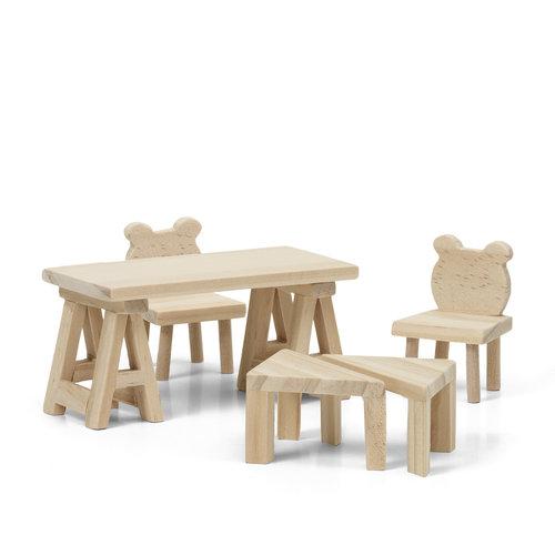 Lundby DIY Poppenhuis Tafel en Stoelen
