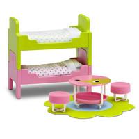 Poppenhuis Kinderkamer met Stapelbed