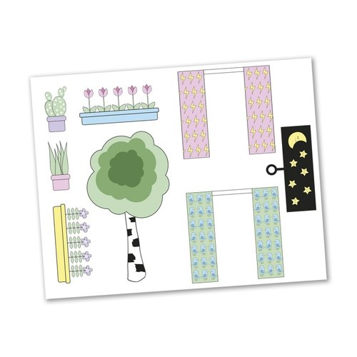 Lundby Poppenhuis Stickervel 'Creative' Gordijn & Bloem