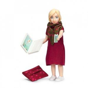 Lundby Poppenhuis Vrouw met Laptop en Rode Tas