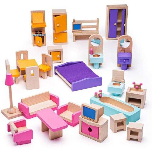 Bigjigs Poppenhuis meubeltjes compleet
