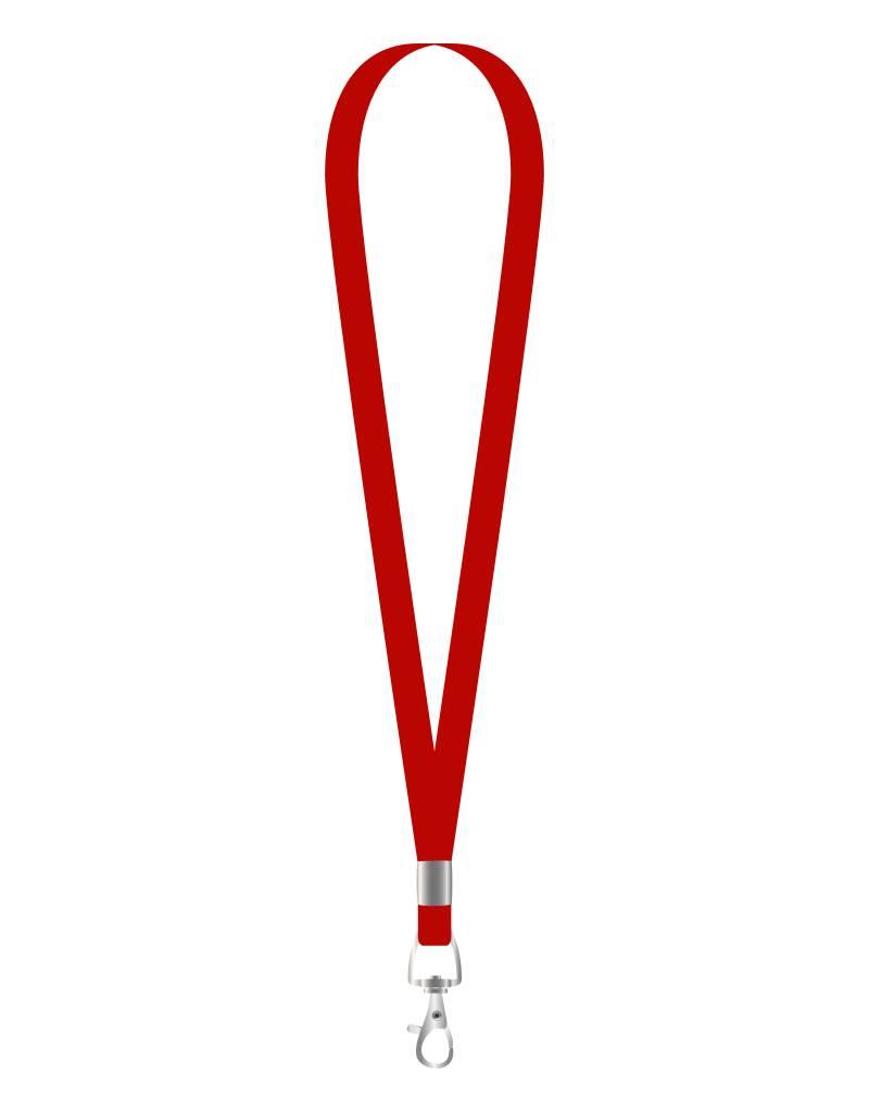 MeetingLinq Rotes schmales Lanyard mit 1 Metallhaken – 1 cm breit, 90 cm lang