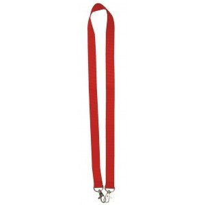 MeetingLinq Red wide lanyard with 2 hooks. 2 cm wide and 90 cm long
