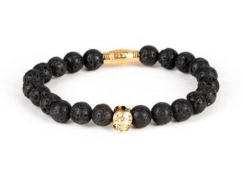 Black and Gold Black and Gold bracelet 8mm black lavastone gold skull