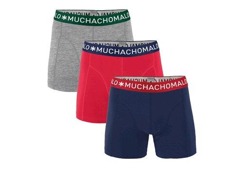 Muchachomalo Muchachomalo SOLID1010-281 3-pack Dark Blue/ Red/ Grey