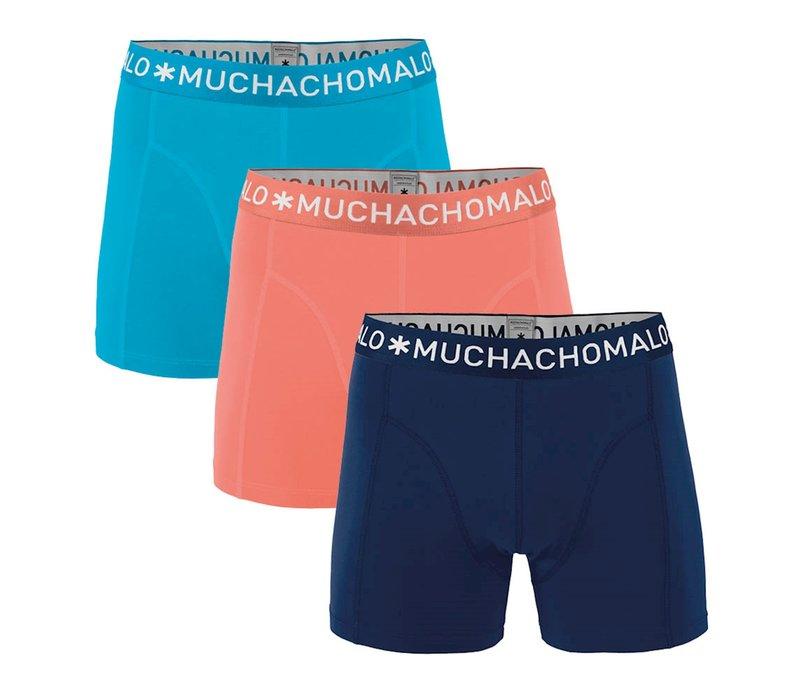Muchachomalo SOLID1010-280 3-pack Salmon/ Dark Blue/ Light Blue