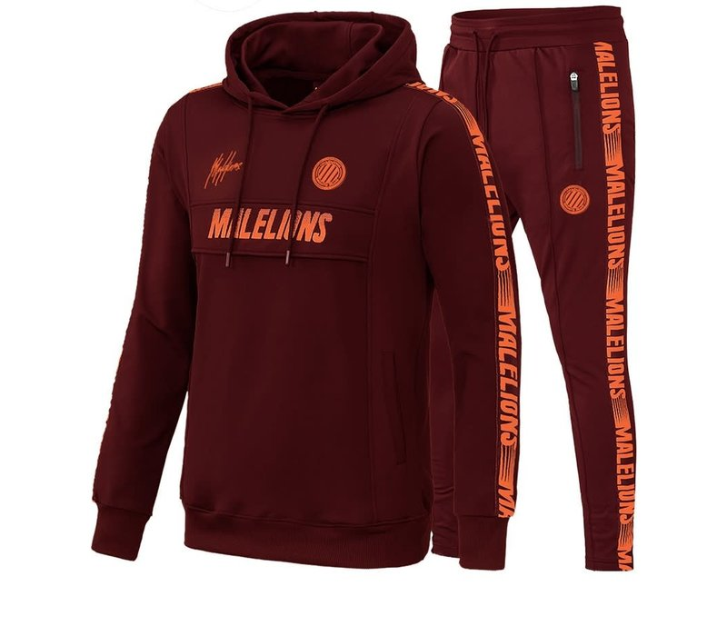 Malelions Tracksuit Warming Up  Bordeaux - Koral Red