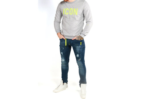Get Well Jeans Icon Sweater Grey/NeonYellow