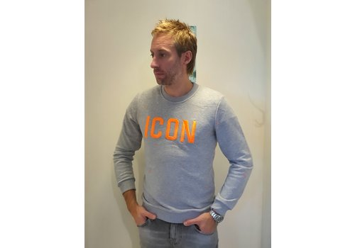 Get Well Jeans Icon Sweater Grey/NeonOrange