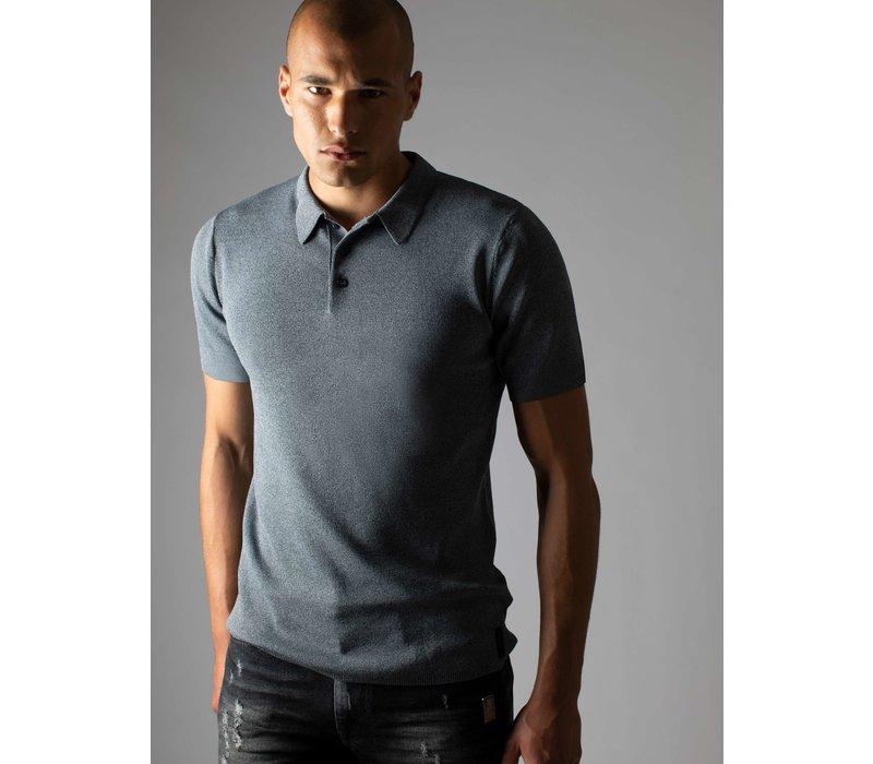 Sustain Knit Polo Heavy Grey Melange