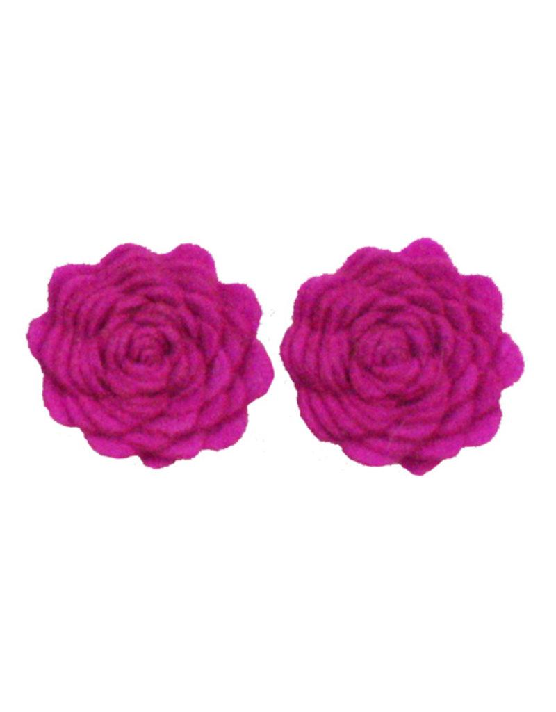 Drukkerapplicatie vilten bloemen (per 2), cyclaam