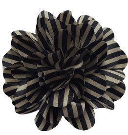 Drukkerapplicatie Gestreepte bloem, zwart-zilver