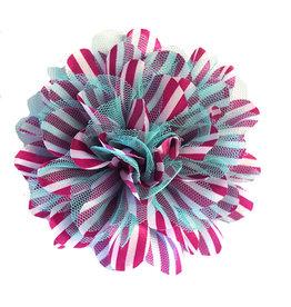 Drukkerapplicatie Gestreepte bloem, cyclaam-aqua