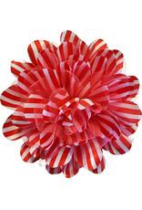 Gestreepte bloem met tule, rood-wit