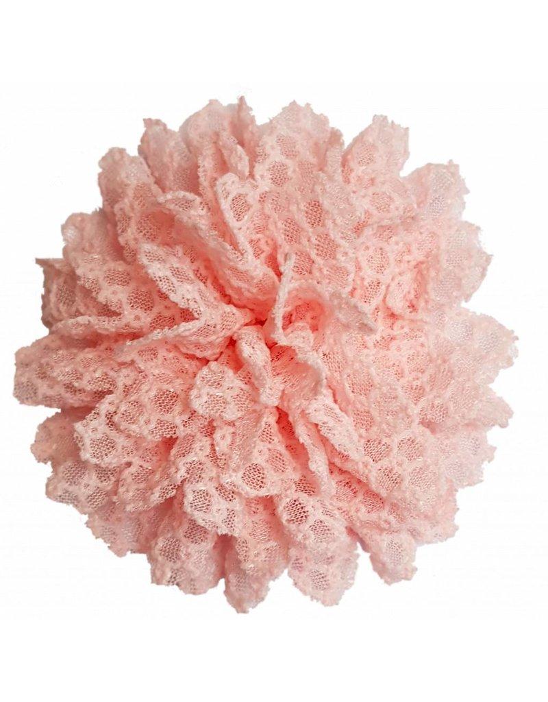 Drukkerapplicatie Kanten bloem, zalm roze