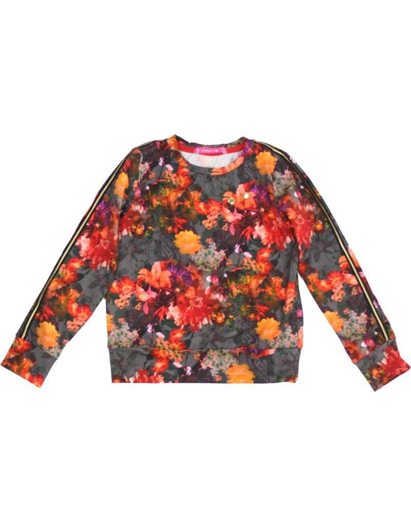 Sweater met bloemen, maat 98/104