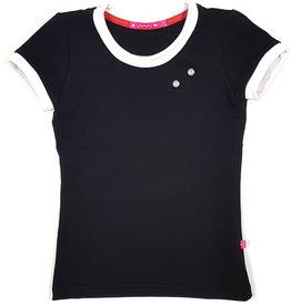 T-shirt met drukkers, zwart