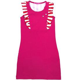 Jurk 'Ruffle' roze-rood/wit, 86/92, 98/104