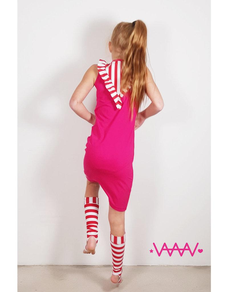 Jurk 'Ruffle' roze-rood/wit
