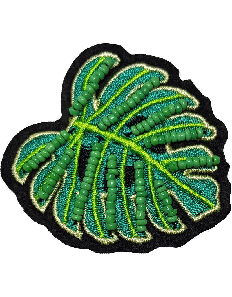 Patch blad groen-zwart met kraaltjes