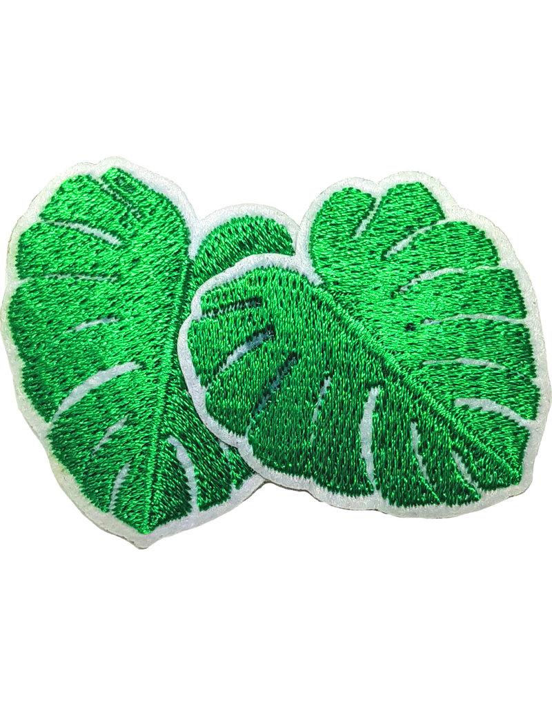 Patch blaadjes groen-wit
