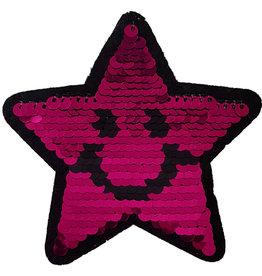 Patch ster roze-zwart