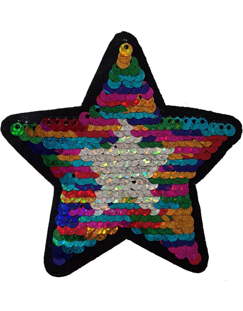 Patch ster multi-zilver-zwart